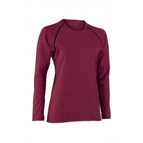 T-shirt manches longues Bio femme laine soie rouge framboise