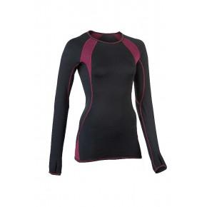 T-shirt sport Bio manches longues noir femme