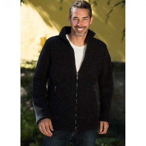 Veste noire pour homme en polaire de laine Bio