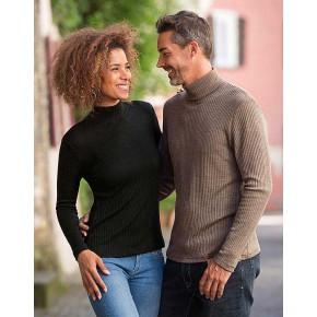 Pull à col cheminée pour femme en laine Bio et soie à manches longues a73e77b6751