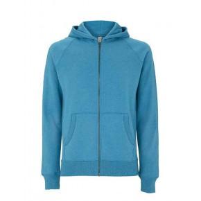 Sweat zippé à capuche Bio et recyclé bleu