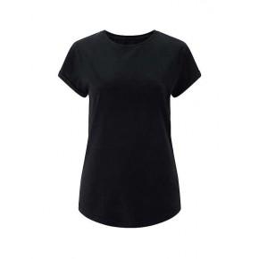 Tee-shirt femme en coton bio, manches retroussées noir