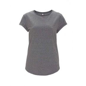 T-shirt femme en coton bio, manches retroussées gris rayé EarthPositive