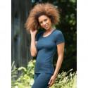 Tricot femme en laine mérinos Bio bleu saphire