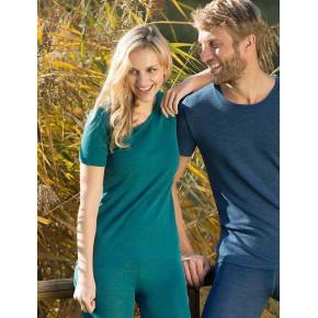 Tricot femme en laine mérinos Bio turquoise