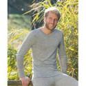 T-shirt homme à manches longues en laine mérinos et soie