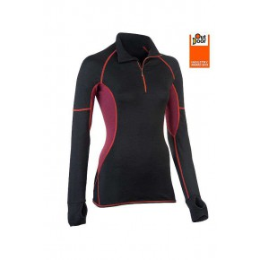 T-shirt de sport zippé à manches longues femme noir
