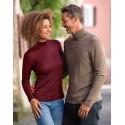 Pull femme en laine merinos et soie rouge bordeaux