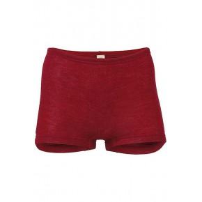 Shorty femme en laine mérinos Bio et soie rouge rubis