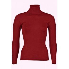 Pull à col roulé en laine mérinos et soie Bio, rouge