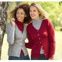 Cardigan femme en laine mérinos et soie rouge rubis