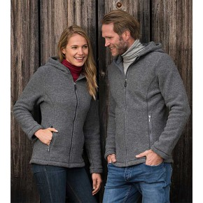 Veste à capuche homme en laine polaire mérinos ENGEL
