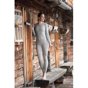 Leggings femme en laine merinos et soie gris chiné