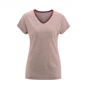 T-shirt femme en lin bio rayé rouge LivingCraft