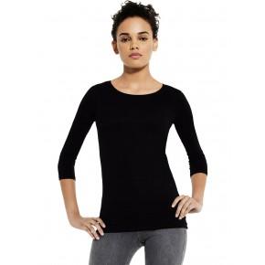 T-shirt femme en coton Bio à manches 3/4 noir EarthPositive