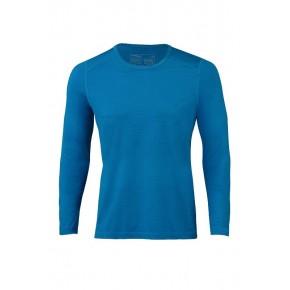 T-shirt homme à manches longues bleu, laine mérinos et soie, Engel Sports
