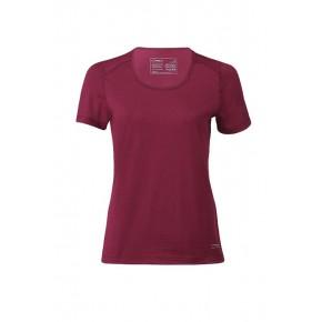 T-shirt de sport femme en laine mérinos et soie Engel rouge bordeaux