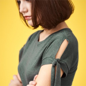 T-shirt en lin Bio femme à manches fendues