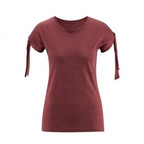 T-shirt en lin Bio femme rouge foncé
