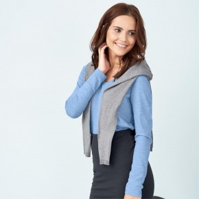 T-shirt manches longues femme en coton Bio bleu clair, LivingCraft
