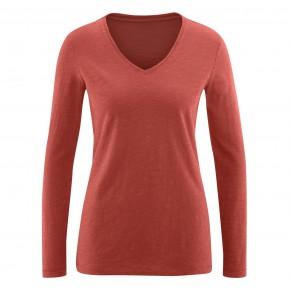T-shirt rouge à manches longues femme en coton Bio, LivingCraft
