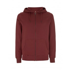 Veste sweat à capuche zippée bordeaux, solde