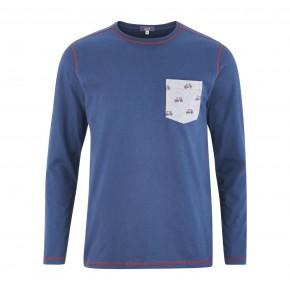 T-shirt de pyjama 100% Bio bleu imprimé vélos