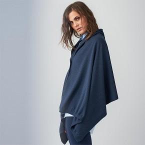 Poncho / Écharpe en laine et coton Bio bleu