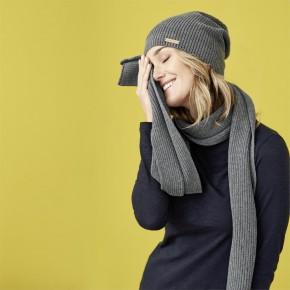 Écharpe en coton Bio femme gris chiné