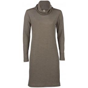 Robe à col roulé à manches longues en laine mérinos  et soie