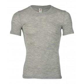 T-shirt Bio homme en laine mérinos et soie gris chiné
