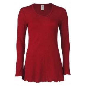 Tunique de pyjama laine et soie rouge rubis