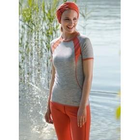 T-shirt de sport bicolore laine mérinos Femme