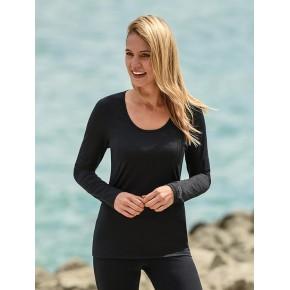 T-shirt femme à manches longues, laine mérinos et soie noir