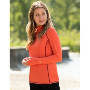 Zip-shirt manches longues femme en laine mérinos