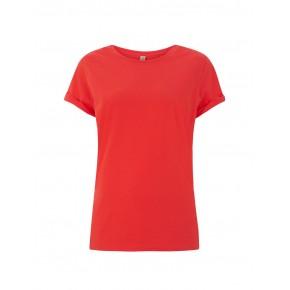 T-shirt femme en coton bio corail solde