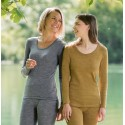 T-shirt femme à manche longue 100 % laine mérinos