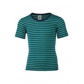 T-shirt rayé enfant laine et soie bleu-vert