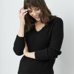 Pull femme Living Crafts noir laine et coton Bio