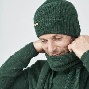 Bonnet  homme 100% laine  vierge vert