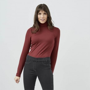 T-shirt à col roulé femme en coton Bio châtaigne