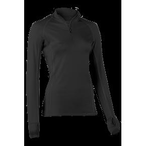 Zip-shirt manches longues femme en laine mérinos noir