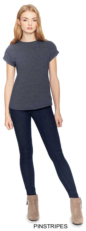 tee-shirt Bio manches retroussées à fines rayures
