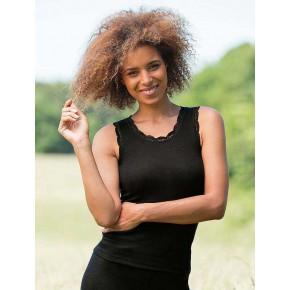 Déardeur femme en laine Bio et soie noir