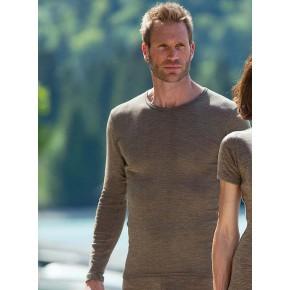 T-shirt homme en laine mérinos Bio et soie, marque Engel