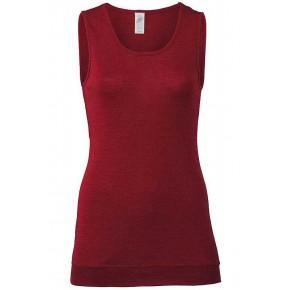 Débardeur long femme en laine mérinos et soie, rouge rubis