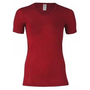 T-shirt femme en laine mérinos bio et soie à manches courtes, rouge rubis