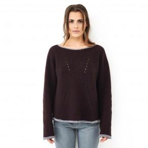 Pullover femme en laine mérinos Bio prune