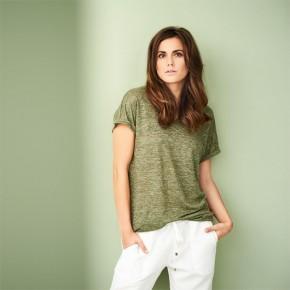 T-shirt femme en lin bio vert flammé LivingCraft