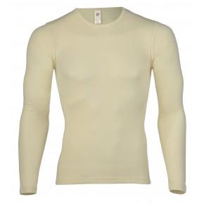 T-shirt homme en laine mérinos Bio et soie écru marque Engel